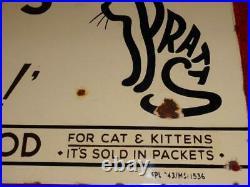 Vintage Spratts Cat Food Enamel Sign Puts Pussy Into Fine Form