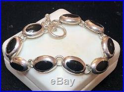 Vintage Sterling Silver Signed Jhc Black Enamel Ring Black Onyx Bracelet Mexico