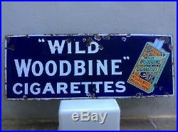 Vintage Wills Wild Woodbine Cigarettes Enamel Sign