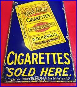 Vintage Wills's Gold Flake Cigarettes Shop Sign Retro Enamel Metal