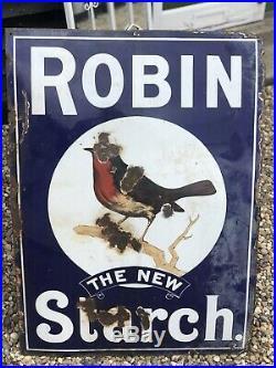 Vintage c1920s Original & Rare Large Robin Starch Heavy Enamel Advertising Sign