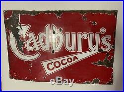 Vintage c1930 Cadbury's Chocolate Enamel Sign
