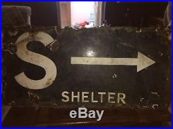Vintage enamel air raid shelter WW2 sign