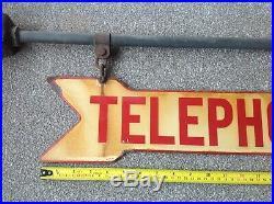 Vintage enamel telephone sign