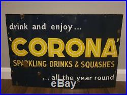 Vintage original Corona enamel metal sign 1940s advertising