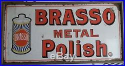 Vintage original enamel sign advertising Brasso, in a slim wooden frame