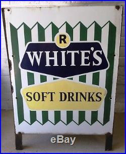 Vtg Advertising R WHITES LEMONADE Soft Drinks Metal Enamel POS. 3 Sign Park Bin