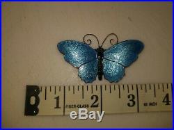 Vtg Sterling 925S Norway DA David Andersen Signed Blue Enamel Butterfly Brooch