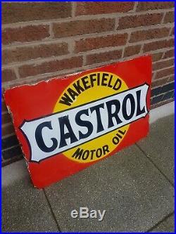 Wakefield Castrol Sign Original Enamel Sign Vintage 1930s