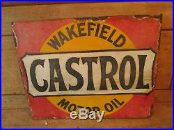Wakefield Castrol double sided sign. Vintage sign. Enamel sign