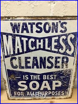 Watsons Matchless Cleanser Soap Vintage Original Enamel Sign