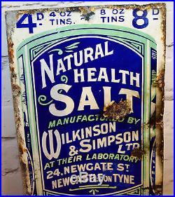 Wilkinson & Simpson salt enamel sign advertising mancave garage metal vintage