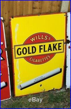 Wills gold flake #2 enamel sign advertising cigarette vintage shop petrol cards