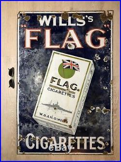 Willss Flag Cigarettes Vintage Original Enamel Sign